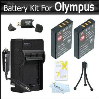 2 Pack Battery And Charger Kit For Olympus VR 340, SZ 12, XZ 1 SZ 10 SZ 20 SZ 30MR SP 800UZ SP 810UZ SZ 11 SZ 31MR iHS SZ 16 iHS SZ 15 TG 830 iHS TG 630 iHS, TG 850 iHS Digital Camera Includes 2 Extended (1000maH) Replacement LI 50B Batteries + Charger ++