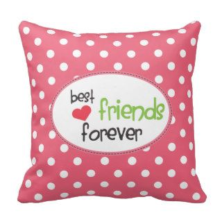 BFF   Best Friends Forever Polka Dots Throw Pillow
