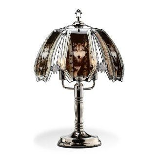 OK Lighting OK632WO4SP3 23.5 Inch Height Touch Lamp with Wolf Theme, Black Chrome   Table Lamps