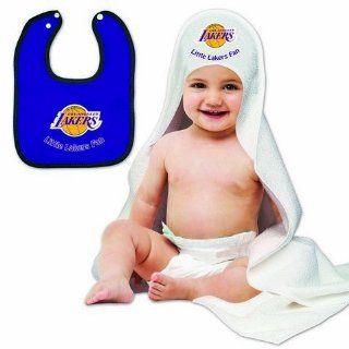 Los Angeles LA Lakers Baby Bib and Hooded Bath Towel Set  Sports Fan Bath Accessories  Sports & Outdoors