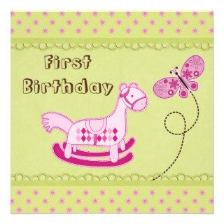 Cute Pink Rocking Horse & Butterfly 1st Birthday Custom Invitation