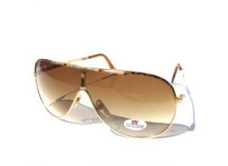 Wings Style Gold ORANGE Black Vintage 80's Rock Star Shield Aviator Retro Hip Hop Sunglasses / Mens and Womens: Clothing