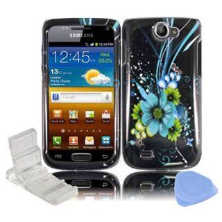 Black Blue Green Hawaiian Flowers Design Snap on Hard Plastic Cover Faceplate Case for Samsung Exhibit 2 II 4G T679 + Screen Protector Film + Mini Adjustable Phone Stand: Cell Phones & Accessories