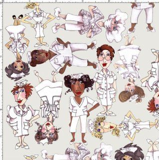 By HALF YARD Loralie Designs Nifty Nurses TOSSED NURSES Gray 691 799 Quilting Cotton Sewing Fabric