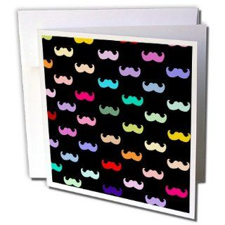 gc_56657_1 InspirationzStore Mustache Collection   Colorful Rainbow Mustache Pattern on Black aka multicolored multicolor ironic hipster mustaches   Greeting Cards 6 Greeting Cards with envelopes : Blank Greeting Cards : Office Products