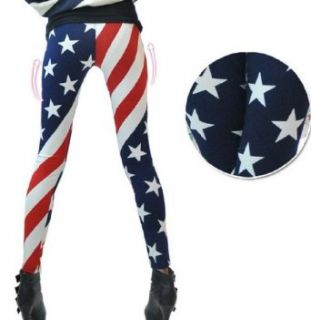 New Fashion Women USA American Flag Stripe Space Star Print Leggings: Clothing