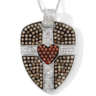 "1.95ct Champagne, Red and White Diamond Sterling Silver ""Heart Shield&quot"