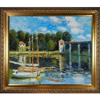 Art Monet The Road Bridge at Argenteuil Oil Painting with Elegant Wood Frame, Gold Finish