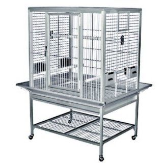 KINGS CAGES FLAT TOP ALUMINUM PARROT CAGE ACF 3325 bird toy toys african grey  eclectus (SILVER, FLAT TOP)  Birdcages