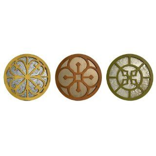 """Set of 3 Marigold, Orange and Green Round Medallion Wall Mirrors 15.5""""   Wall Mounted Mirrors"""