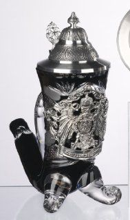 Black Lord of Crystal German Horn Beer Stein with Pewter Crest and Lid 0.5 Liter   Decorative Jars
