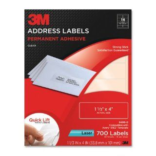 3M Permanent Adhesive Address Labels, 1.33 x 4 Inches, Clear, 700 per Pack (3400 D)