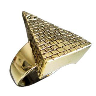 Bronze Free Mason Pyramid Secret Society All Seeing Eye Illuminati Ring   Size 16.25: Jewelry