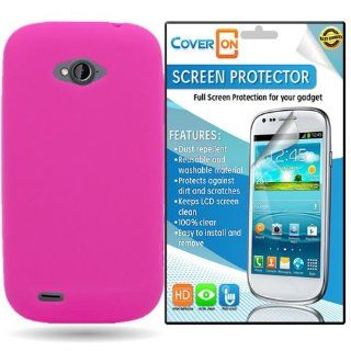 CoverON� ZTE Savvy Silicone Rubber Soft Skin Case Cover Bundle with Clear Anti Glare LCD Screen Protector   Hot Pink: Cell Phones & Accessories