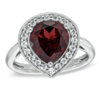Pear Shaped Garnet and Lab Created White Sapphire Frame Ring in