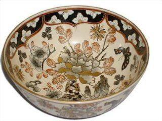 """Shop Decorative Porcelain Bowl, Japanese Imari Style   Hand Painted Black and Gold, 6""""D at the  Home D�cor Store"""