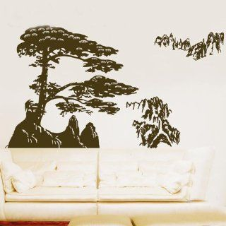 Big Pine Tree Branch with Mountain Leaf Leaves Trees Art Decals Wall Sticker Vinyl Wall Decal Stickers Living Room Bed Baby Room 818: Everything Else