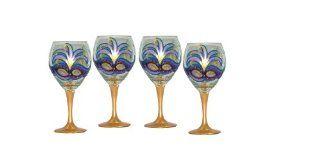 ArtisanStreet's Mardi Gras Design with Purple Mask Wine Glasses. Set of 4. Hand Painted. Kitchen & Dining