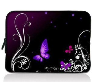 """Purple Butterfly Universal Zip Bag 7"""" Tablet Case Cover Sleeve for 7"""" Samsung Galaxy Tab 2 Tab 3 ,Ipad Mini,Barnes & Noble NOOK Color Tab/Google Nexus 7, Kindle Fire HD ,HP Slate 7,Pendo Pad ,7 inch Pioneer Dreambook,Acer Iconia A100,BlackBer"""