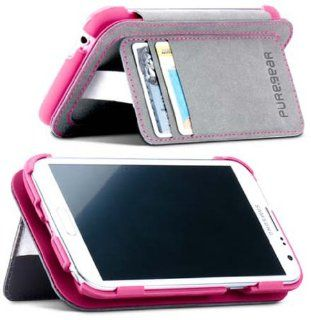 PUREGEAR FOLIO KICKSTAND WALLET PINK GRAY CASE FLIP FOR SAMSUNG GALAXY NOTE 2 II: Cell Phones & Accessories