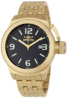 Invicta Men's 0991 Corduba Black Dial 18k Gold Plated Stainless Steel Watch Invicta Watches