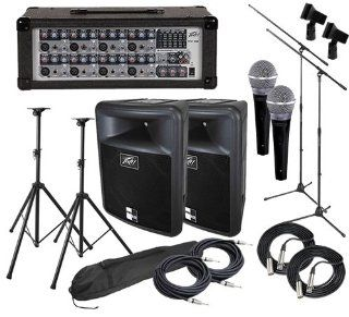 Peavey PVi 8B Powered Mixer BUNDLE w/ PR12 Speakers, Mics & Stands Electronics