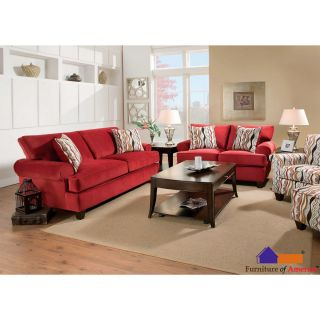 Furniture Of America Invenzy Transitional 2 piece Corduroy Fabric Sofa And Loveseat Set