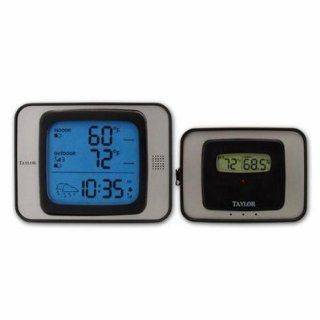 Taylor 1526 Weather Guide, Wireless Remote, Thermometer, Hygrometer & Atomic clock : Weather Monitor Clocks : Patio, Lawn & Garden