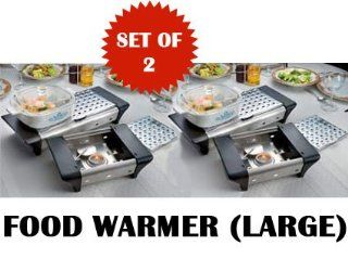 FOOD WARMER BUFFET   TEALIGHT HEAT (NON CORDED FOR EASIER MOBILITY GREAT INDOORS AND OUTDOORS!   LARGE SET OF 2) : Outdoor Kitchen Food Warmers : Patio, Lawn & Garden