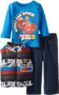 Disney Baby boys Infant 3 Piece Cars Vest and Pant Set, Blue, 12 Months Clothing