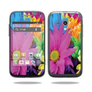 MightySkins Protective Vinyl Skin Decal Cover for Samsung Galaxy Rush Cell Phone M830 Boost Mobile Sticker Skins Colorful Flowers: Computers & Accessories