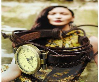 Genuine Leather Knitted Bracelet Wrist Watch Coffee at  Women's Watch store.