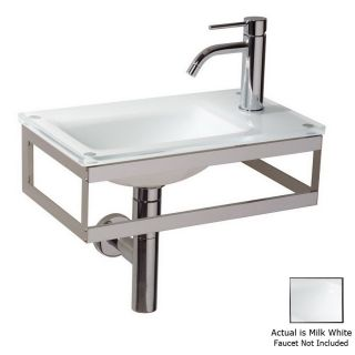 WS Bath Collections Linea Milk White Glass Wall Mount Rectangular Bathroom Sink (Drain Included)