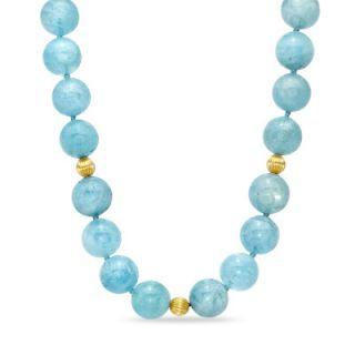 Aquamarine and 14K Gold Bead Necklace   Zales