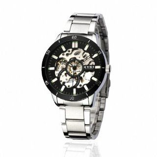 EYKI Men's Stainless Steel Skeleton Automatic Mechanical Wrist Watch EFL8495AG Silver Band Black Face: Watches