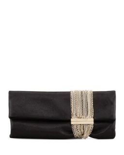 Chandra Shimmer Suede Chain Clutch Bag, Black   Jimmy Choo
