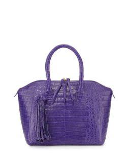 Small Crocodile Tassel Satchel Bag, Purple   Nancy Gonzalez
