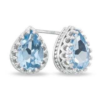 Pear Shaped Lab Created Aquamarine Crown Earrings in Sterling Silver