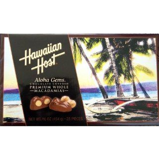 Hawaiian Host Aloha Gems, Chocolate Covered Premium Whole Macadamias : Macadamia Nuts : Grocery & Gourmet Food