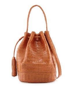 Medium Crocodile Tassel Bucket Bag, Cognac   Nancy Gonzalez