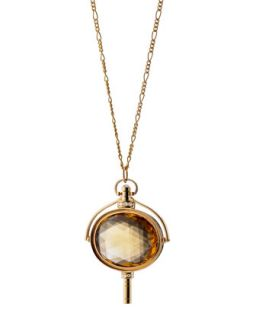Pocket Watch Key Honey Quartz Oval Necklace   Monica Rich Kosann