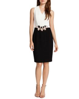 Womens Cameron Colorblock Dress with Jeweled Cluster Waist, White/Black