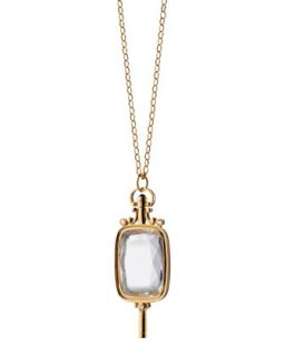 Pocket Watch Key Rock Crystal Necklace   Monica Rich Kosann