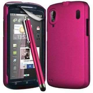 N4U Online Hot Pink Hybrid Hard Back Case Cover For Orange Monte Carlo Zte Skate V960 , Screen Protector & High Sensitive Stylus Pen: Cell Phones & Accessories