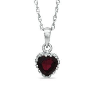 0mm Heart Shaped Garnet Crown Pendant in Sterling Silver   Zales