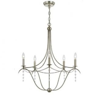 Crystorama 435 SA Metro 5LT Chandelier, Antique Silver Finish with Clear Beads