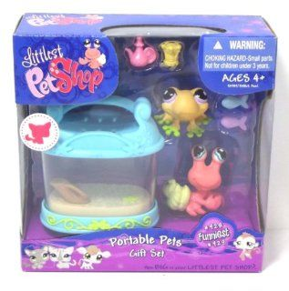 Littlest Pet Shop Portable Pets Gift Set Funniest #928 Yellow Frog and #929 Hermit Crab: Toys & Games