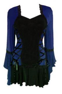 Dare to Wear Women Bolero Sexy Gothic 5010 Blue Plus Size Top Blouse