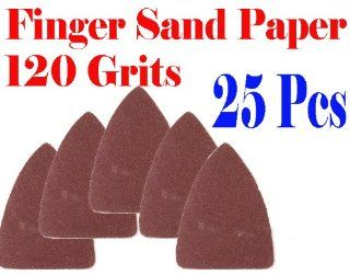 Pack 25 Sandpaper 120 Grits Sand Paper Finger Detail w/ Velcro Oscillating Multi Tool Saw Blades for Fein Multimaster Bosch Multi x Craftsman Nextec Dremel Multi max Ridgid Dremel Chicago   Sandpaper Sheets