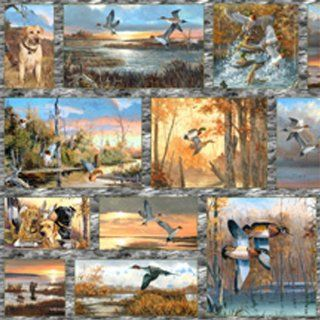 Cotton First Light Ducks Birds Hunting Dogs Cotton Fabric Print by the Yard (Q1601 64002 945S)
